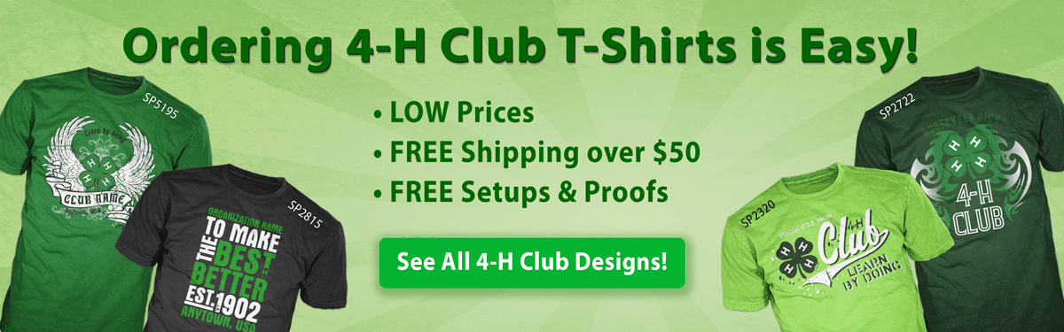 4-h custom t-shirts ordering is easy • low prices • free shipping